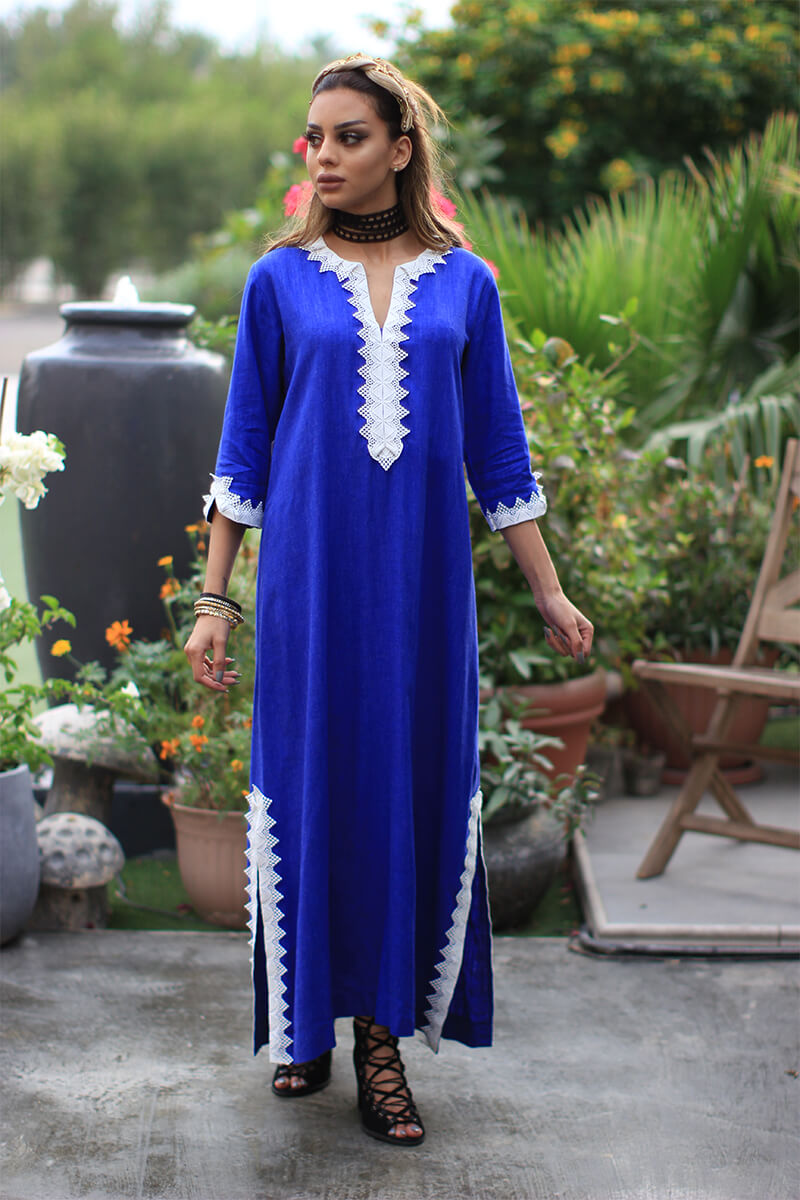 Blue White Lace Kaftan